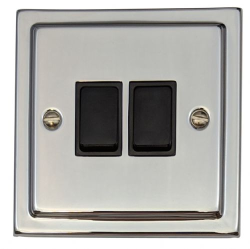 G&H TC2B Trimline Plate Polished Chrome 2 Gang 1 or 2 Way Rocker Light Switch